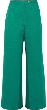 Tyrah Cotton-twill Wide-leg Pants - Forest green