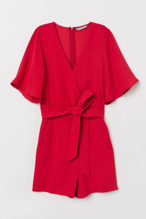 Creped Jumpsuit - Red