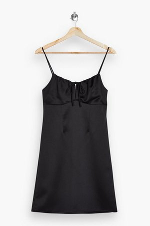 TALL Black Gathered Bust Midi Slip Dress | Topshop