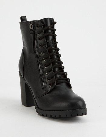 SODA Malia Black Womens Heeled Combat Boots - BLACK - 334379100 | Tillys