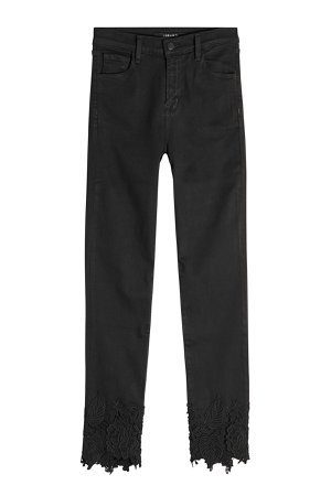 Ruby High Rise Crop Cigarette Jeans with Embroidered Ankles Gr. 28