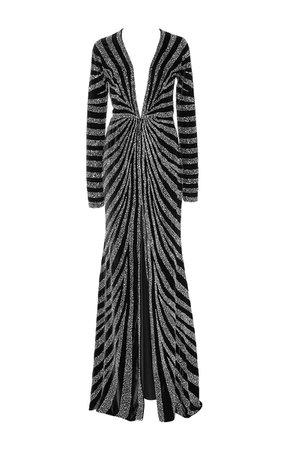 Linear Beaded Velvet Gown by Naeem Khan   Moda Operandi