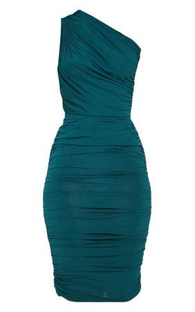 Emerald Green Slinky One Shoulder Midi Dress | PrettyLittleThing USA