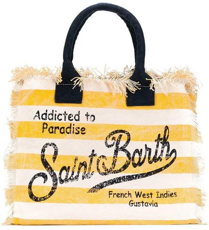 striped frayed edge tote