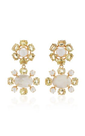 Earrings Set with Lemon Quartz, White Pearls and Mother of Pearl by Bounkit | Moda Operandi