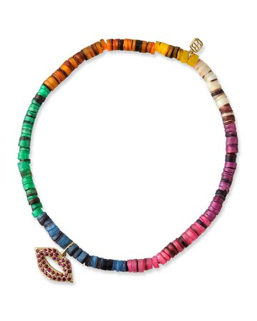 Sydney Evan Ruby Lips Heishi Bead Bracelet