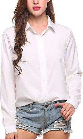 Amazon.com: Zeagoo Women's Button Down Shirt Long Sleeve Collared Tops Chiffon Blouse for Women: Clothing