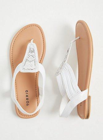 Plus Size - White Embellished Stretch Slingback Sandal (WW) - Torrid