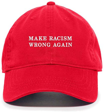 *clipped by @luci-her* Tech Design Make Racism Wrong Again Baseball Cap Embroidered Cotton Adjustable Dad Hat at Amazon Men's Clothing store