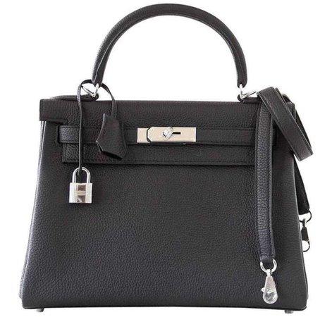 Hermès Kelly 28 Retourne Black Togo PHW Bag | Baghunter