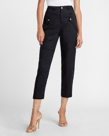 High Waisted Button Pocket Straight Utility Pant