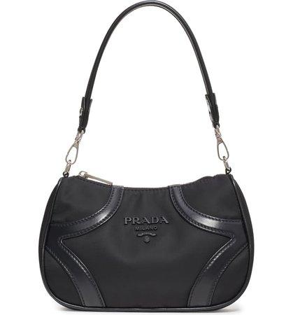Prada Nylon & Leather Baguette Bag | Nordstrom