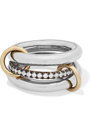 Spinelli Kilcollin | Libra set of three 18-karat blackened and yellow gold diamond rings | NET-A-PORTER.COM