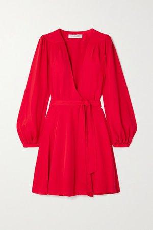 Londyn Crepe Wrap Mini Dress - Red