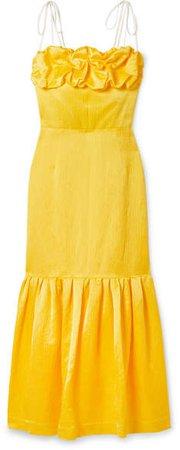 Rosie Ruffled Grosgrain-trimmed Linen-blend Jacquard Dress - Yellow