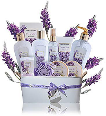 Amazon.com : Spa Gift Baskets for Women Lavender - #1 Lush mothers day gift set in essential oils for Relaxation -11 Pcs At Home Spa Kit - Holiday Beauty Gift Ideas, bubble Bath, Body lotion scrub, bath bomb salts : Beauty