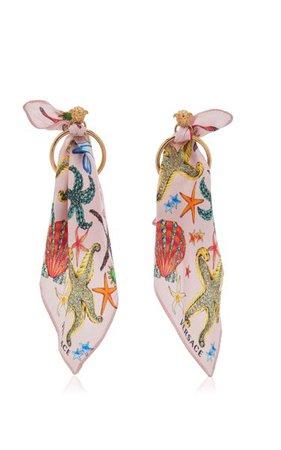 Printed Scarf Hoop Earrings By Versace | Moda Operandi