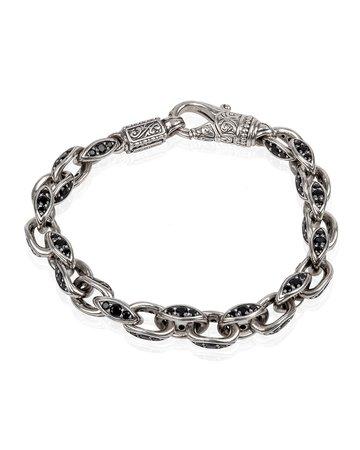 Konstantino Plato Black Spinel Sterling Silver Link Bracelet