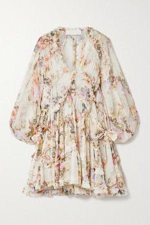 Brighton Ruffled Floral-print Crepon Mini Dress - Ivory