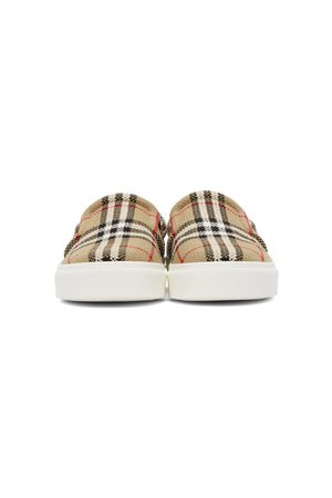 BURBERRY Beige Check Bio-Based Sole Latticed Slip-On Sneakers | SSENSE