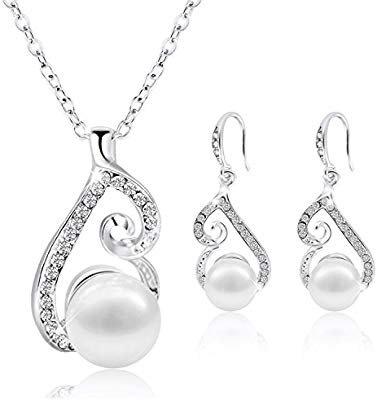 Pearl Pendant Necklace Dangle Earring Stud Set