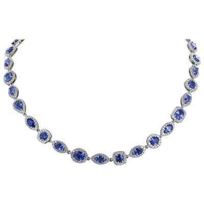 Details about 49.48 Carat Vivid Blue Sapphire & Cubic Zirconia Opera Length Fashion Necklace