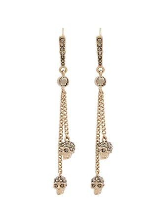 Alexander McQueen Metallic Chain Skull Earrings - Farfetch
