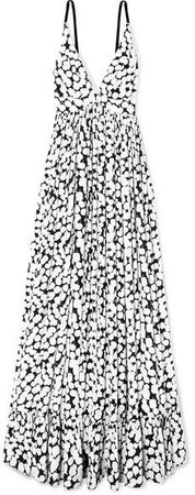 Printed Crepe De Chine Maxi Dress - White