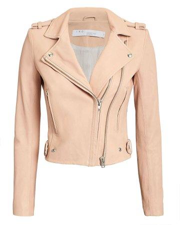 Dylan Powder Pink Leather Jacket