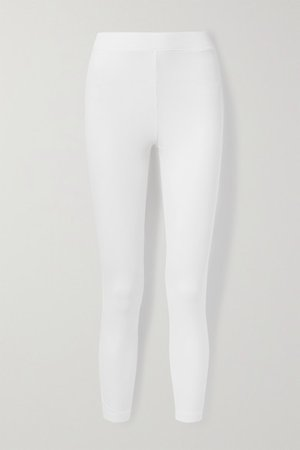 Ilanit Ribbed Stretch-pima Cotton-jersey Leggings - White