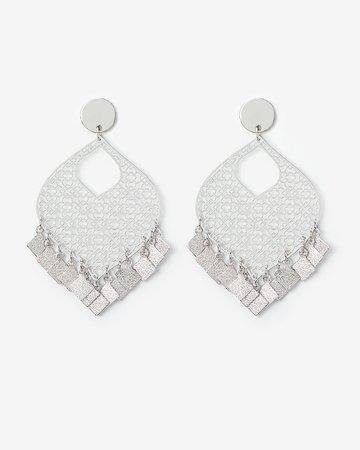 Filigree Teardrop Square Fringe Drop Earrings | Express
