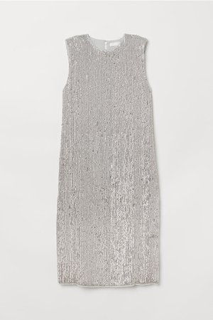 Sleeveless Sequined Dress - Silver-colored - Ladies | H&M US