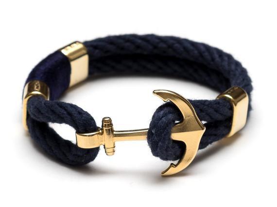 Nautical Rope Bracelet / Nautical Anchor Bracelet / Navy Blue | Etsy