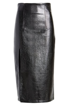 Topshop Croc Faux Leather Pencil Skirt | Nordstrom