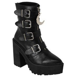 Killstar Gothic  Sorceress Moon Buckle Zip Up Boots