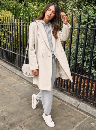 Ivory Double Breasted Crombie Coat