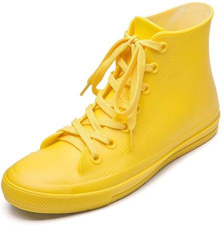 Amazon.com | DKSUKO Women's Rain Boots Waterproof High Top Rain Shoes with Lace Up Anti-Slip Garden Shoes (7 B(M) US, Black) | Rain Footwear