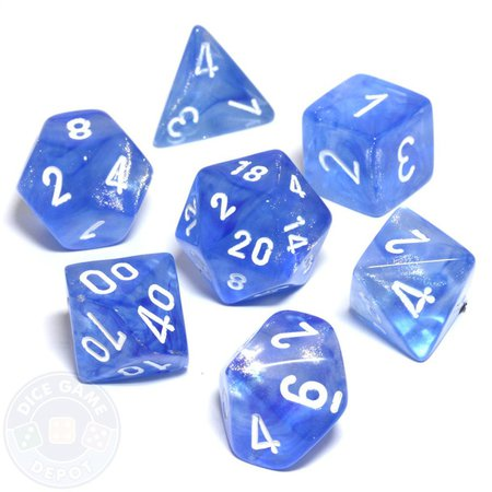 Borealis 7-Piece Dice Set - Sky Blue - Dice Game Depot