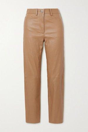 Camel Teddy leather tapered pants   Joseph   NET-A-PORTER