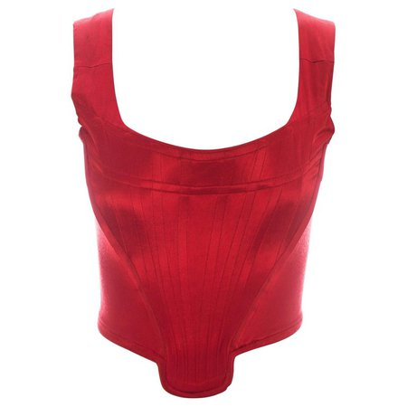 Vivienne Westwood red satin boned corset, ca. 1991 For Sale at 1stdibs