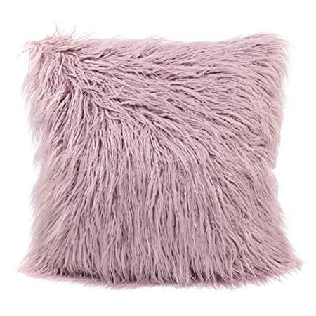 MHJY Faux Fur Pillow Case,Mongolian Fluffy Pillow Cover Soft Plush Throw Pillow Case Cushion Cover Deluxe Home Decor Bed Sofa Car Decorative Pillowcase(18 x 18 Inch): Home & Kitchen