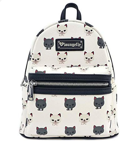 Loungefly Cat AOP Mini Backpack (One Size, White) | Backpacks