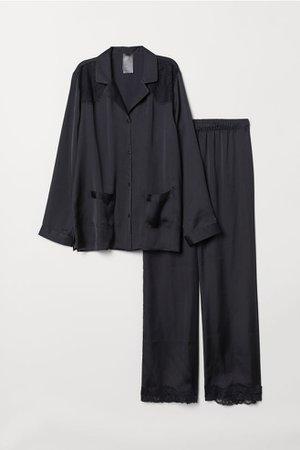 Pajama Shirt and Pants - Black - Ladies | H&M CA