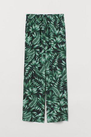 Wide-leg Pull-on Pants - Black