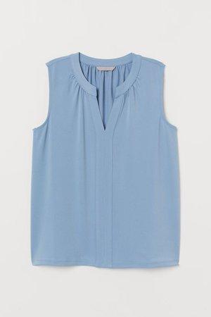 V-neck Jersey Top - Light blue - Ladies | H&M US