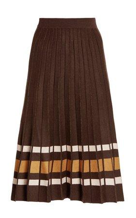 Adam Pleated Striped Knit Midi Skirt By Dodo Bar Or   Moda Operandi