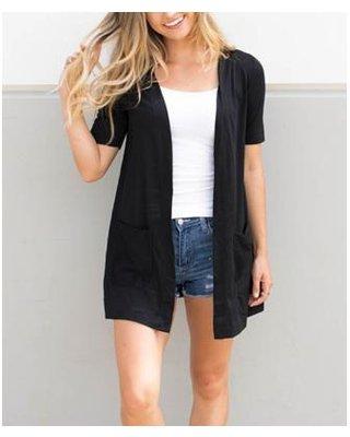 Short Sleeve Open Black Cardigan