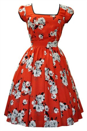1950s style dress floral red
