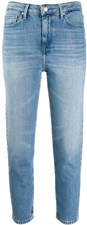 cropped contrast stitched jeans