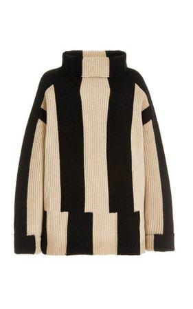 Oversized Striped Ribbed-Knit Wool Turtleneck Sweater By Joseph | Moda Operandi